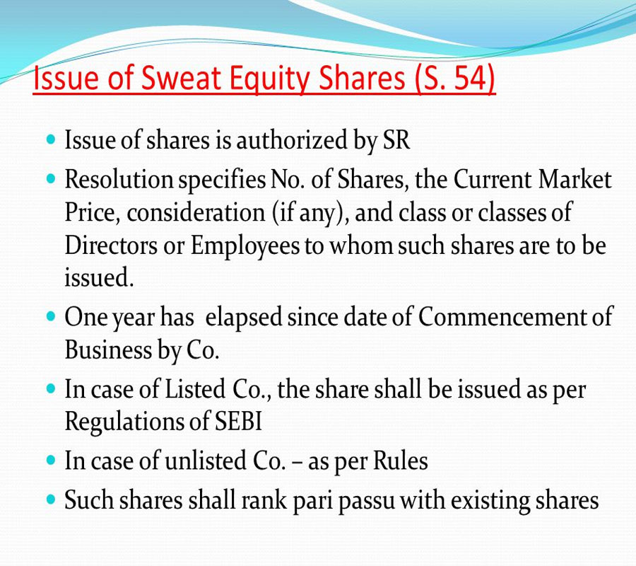 Sweat Equity shares under Companies Act 2013